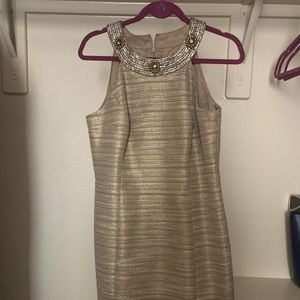 Gold Short Fitted dress